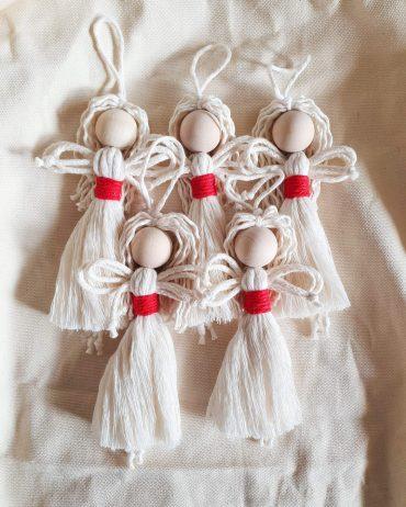 Mały anioł ze sznurka - wersja świąteczna - zestaw 5 szt.