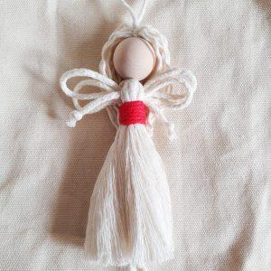 Mały anioł ze sznurka - wersja świąteczna